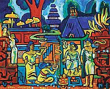 PAUL HUSNER (b. 1942), Village life in Bali, 2005, Oil on canvas