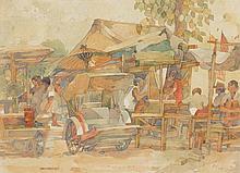 TAN CHOON GHEE (b. 1930 - d. 2010), Hawker Stall, 1981, watercolour on paper
