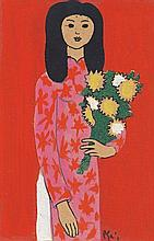 BUI XUAN PHAI (b. 1921 - d. 1988), LADY WITH FLOWERS, Undated, mixed media on paper