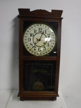 Oak Regulator Calendar Clock