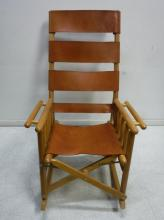Leather & wood rocking chair