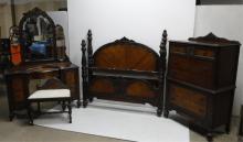 1920's 4 piece walnut bedroom suite