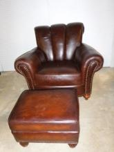Broyhill leather chair & ottoman