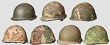 Sieben amerikanische Helme nach 1945