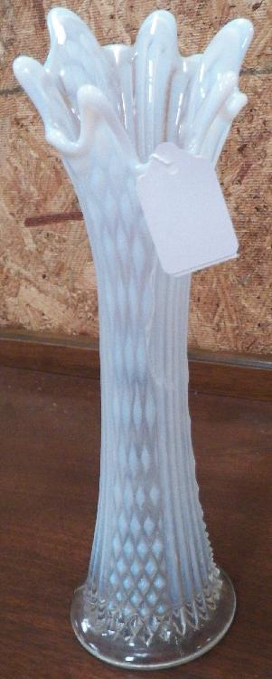 1907 Fenton White Opalescent Diamond Stretch Vase
