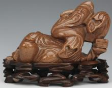 Chinese Carved Reclining Confucius Goldstone Stand