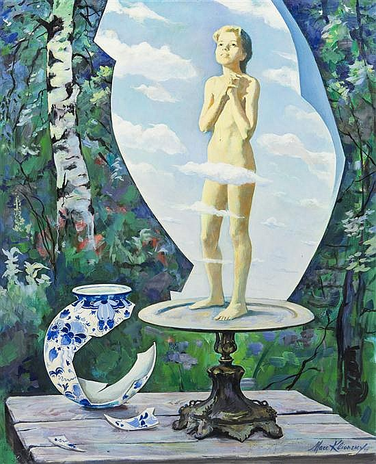 Marc Klionsky, (Russian, b. 1927), Still Life with Cupid and Vase, 1975
