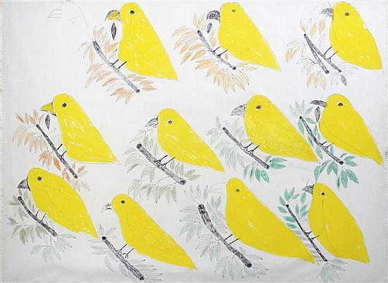 Lee Godie, (American, 1908-1994), #11 Birds on this