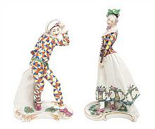 * Two Nymphenburg Porcelain Figures Height of taller 8 3/4 inches.