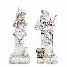 * A Pair of Continental Porcelain Figures Height of taller 15 1/4 inches.