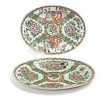 Two Chinese Export Rose Medallion Porcelain Serving Plates Length of larger 11 inches.