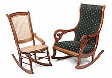 * Two Associated Victorian Rocking Chairs Height of first 40 inches.