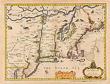 * (MAP) SPEED, JOHN. A Map of New England and New York. [London, 1676].
