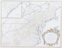(MAP) VAUGONDY, ROBERT DE. Partie De L'Amerique Septentrionale... S.I., c. 1788. Engraved map with hand-coloring. Framed and matted.