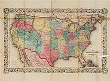 * (MAP) COLTON, J.H. The United States of America.New York, 1854.  Large folding engraved map with hand-coloring.