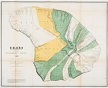 (MAP, HAWAII). Lanai. Government Survey, 1878. S.l., 1900. Color lithograph map.