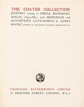 (ASIAN) ORANGE, JAMES. The Chater Collection. Pictures relating to China, Hongkong, Macao, 1655-1860... London, 1924. 1st ed, limited.