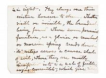 MUIR, JOHN. Nine partial autograph manuscript pages from Ch. V of