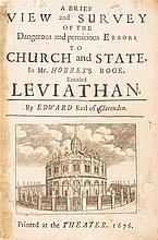 CLARENDON, EDWARD HYDE. A Brief View...of the Dangerous...Errors to Church and State in...Leviathan. [Oxford], 1676. 1st ed.
