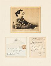 DICKENS, CHARLES. Autographed letter initialled, to William Harness, 1pg, London, 1868. Framed with an engraving