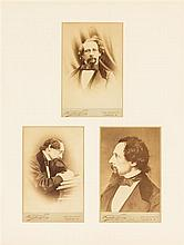 DICKENS, CHARLES. Three carte-de-visite albumen portraits of Dickens by Fradelle & Young, n.d. [c. 1860] Framed.