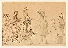 BUNBURY, HENRY WILLIAM. Original ink and pencil sketch,