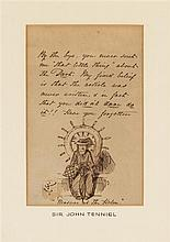 TENNIEL, JOHN. Autographed note initialled, with original sketch