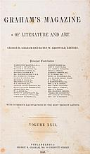 (PERIODICAL) GRAHAM'S MAGAZINE. Graham's Magazine of Literature and Art. Vol. XXII. Phila., 1843. Vol. 22 only.