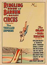 (CIRCUS) Ringling Bros and Barnum & Bailey Circus Presents The Thriller Supreme. The Orland-Mara Sensation. [ca. 1931] Color litho.