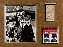 * (THE BEATLES) Autographed note card signed in pen by all four members. Framed and matted with repro photo.