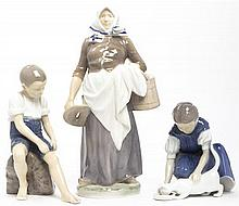 Three Danish Porcelain Figures, Height of tallest 11 1/4 inches.