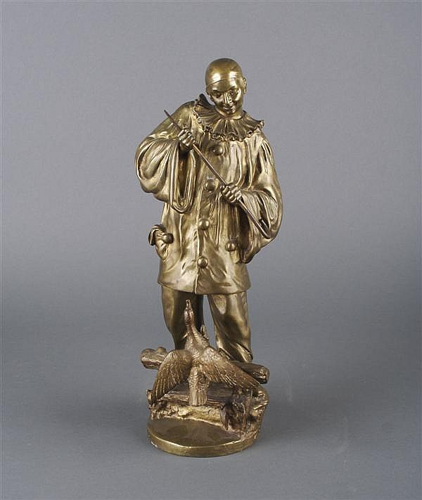 A Belgian Bronze of Pierot and a Duck, after Ernest Wante, Height 17 3/4 inches.