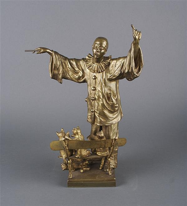 A Belgian Bronze of Pierot Conducting Four Cats, after Ernest Wante, Height 17 inches.