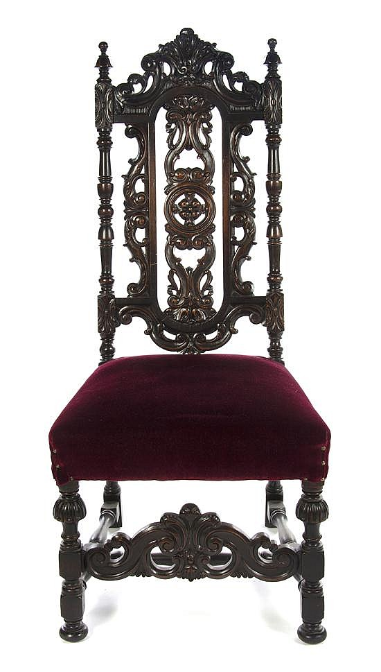 * A Renaissance Revival Side Chair, Height 48 inches.