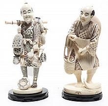 Two Carved Ivory Figures, Height of taller 6 1/4 inches.