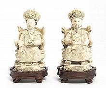 Carved Ivory Figures of an Emperor and Empress, Height 5 1/8 inches.