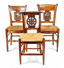 Three French Provincial Side Chairs Height of largest 34 x width 16 x depth 13 inches.