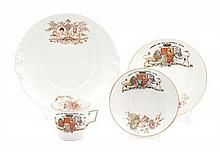 Four English Porcelain Royal Commemorative Articles Diameter of largest 9 inches.