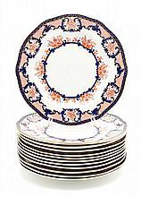 A Set of Twelve Royal Crown Derby Porcelain Plates Diameter 10 1/8 inches.