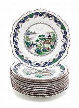 Eleven Crown Staffordshire Dessert Plates Diameter 8 inches.
