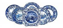 A Collection of Blue and White Ceramic Plates Diameter of largest 10 1/2 inches.