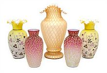 A Collection of American Glass Vases Height of tallest 12 1/2 inches.