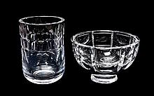 Two Pieces of Swedish Crystal Height 6 3/4 inches.