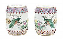 A Pair of Chinese Export Famille Rose Porcelain Garden Stools Height 17 3/4 inches.