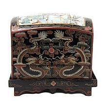 A Chinese Lacquer Stacking Box Height 8 inches.