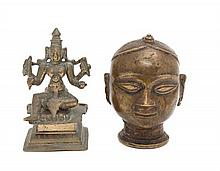 Two Indian Brass Figures Height of taller 4 1/4 inches.