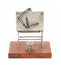 An .800 Silver Model of an Architect's Easel Width 3 1/8 inches.