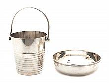 Two French Silver-Plate Articles Height of bucket 5 1/4 inches.