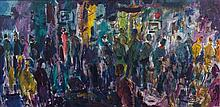 Pascal Cucaro, (American, 1915-2004), Figures in Crowded Cafe