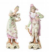 A Pair of Continental Porcelain Figures Height 7 3/4 inches.